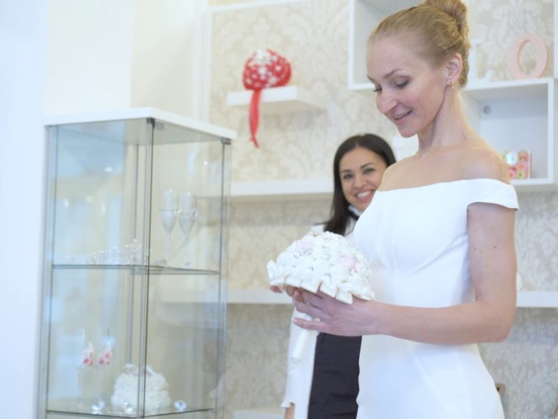 Wedding dress shopping in bridal boutique
